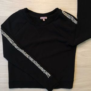 JUICY COUTURE EMBELLISHED BLACK CREW NECK